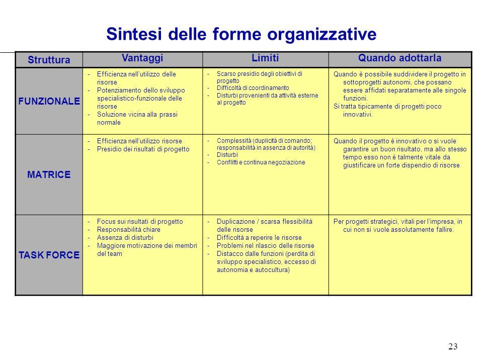 Sintesi delle forme organizzative