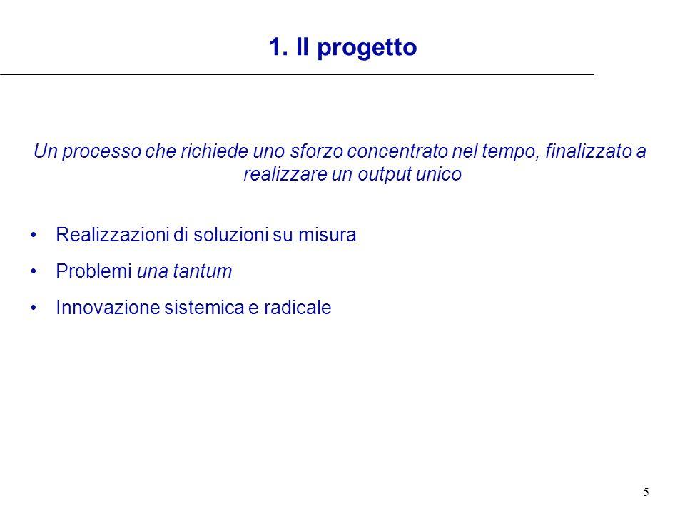 1. Il progetto Un processo che richiede uno sforzo concentrato nel tempo, finalizzato a realizzare un output unico.