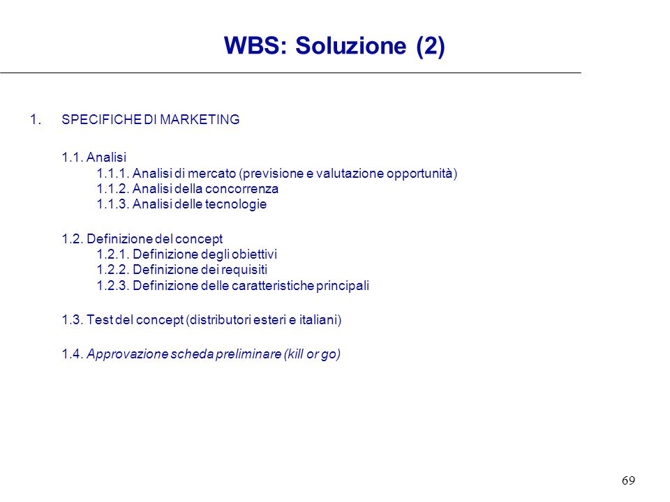 WBS: Soluzione (2) 1. SPECIFICHE DI MARKETING