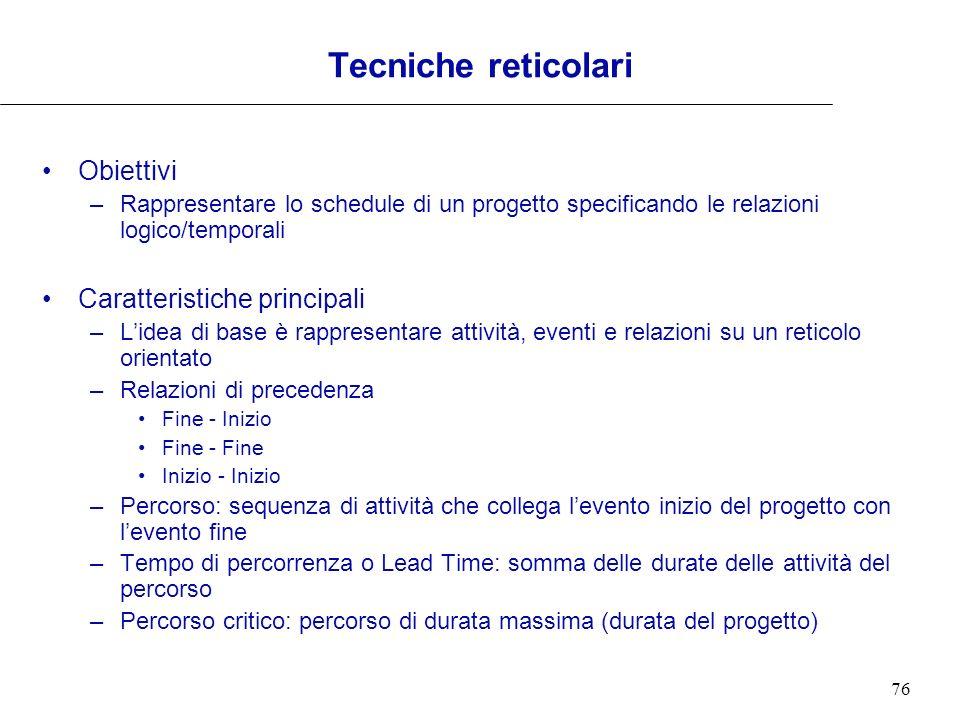 Tecniche reticolari Obiettivi Caratteristiche principali