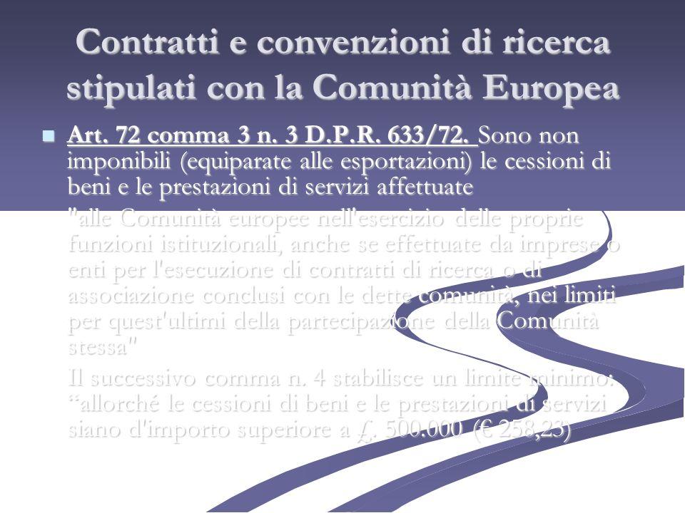 Contratti e convenzioni di ricerca stipulati con la Comunità Europea