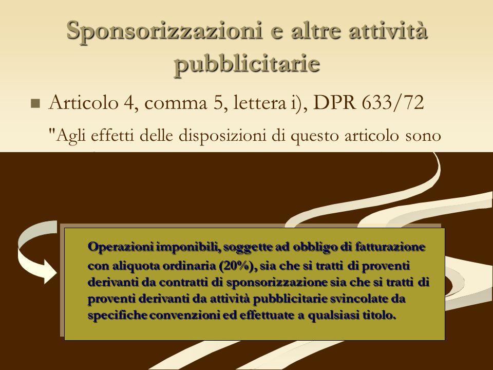 Sponsorizzazioni e altre attività pubblicitarie