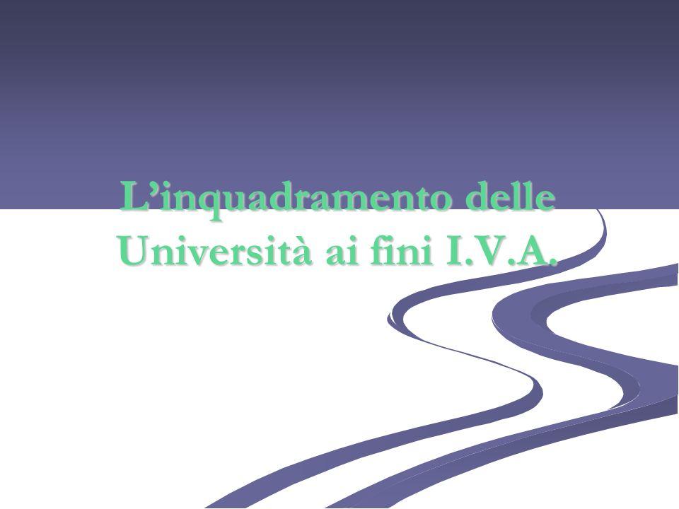 L'inquadramento delle Università ai fini I.V.A.