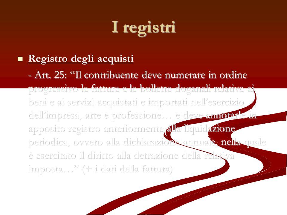 I registri Registro degli acquisti