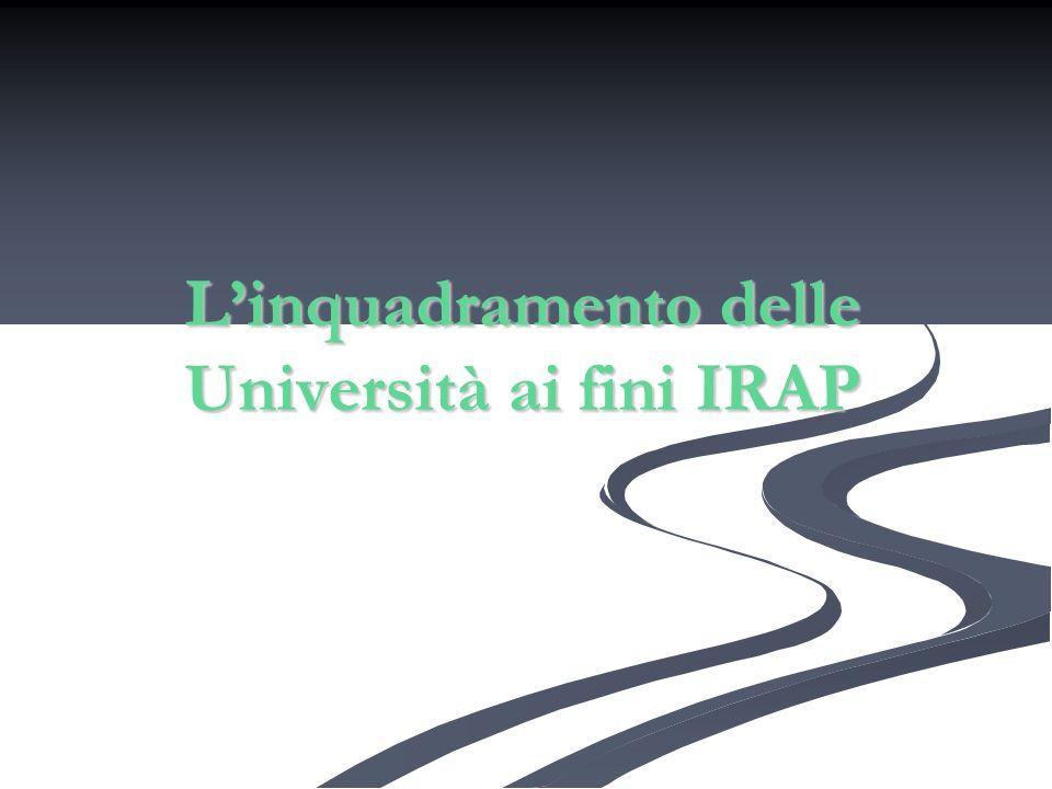 L'inquadramento delle Università ai fini IRAP