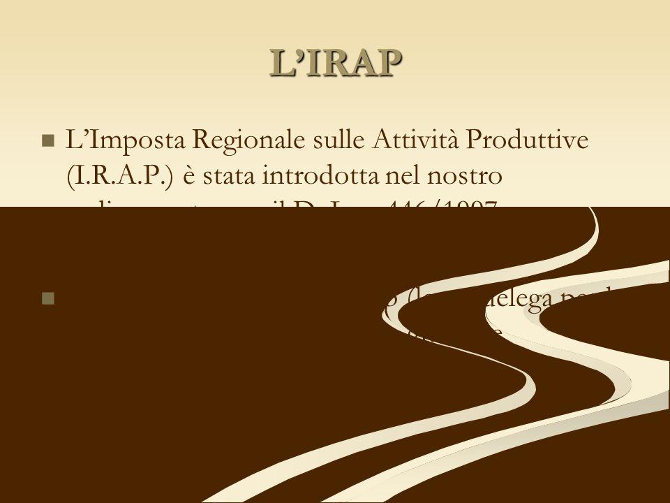L'IRAP L'Imposta Regionale sulle Attività Produttive (I.R.A.P.) è stata introdotta nel nostro ordinamento con il D. Lgs. 446/1997.