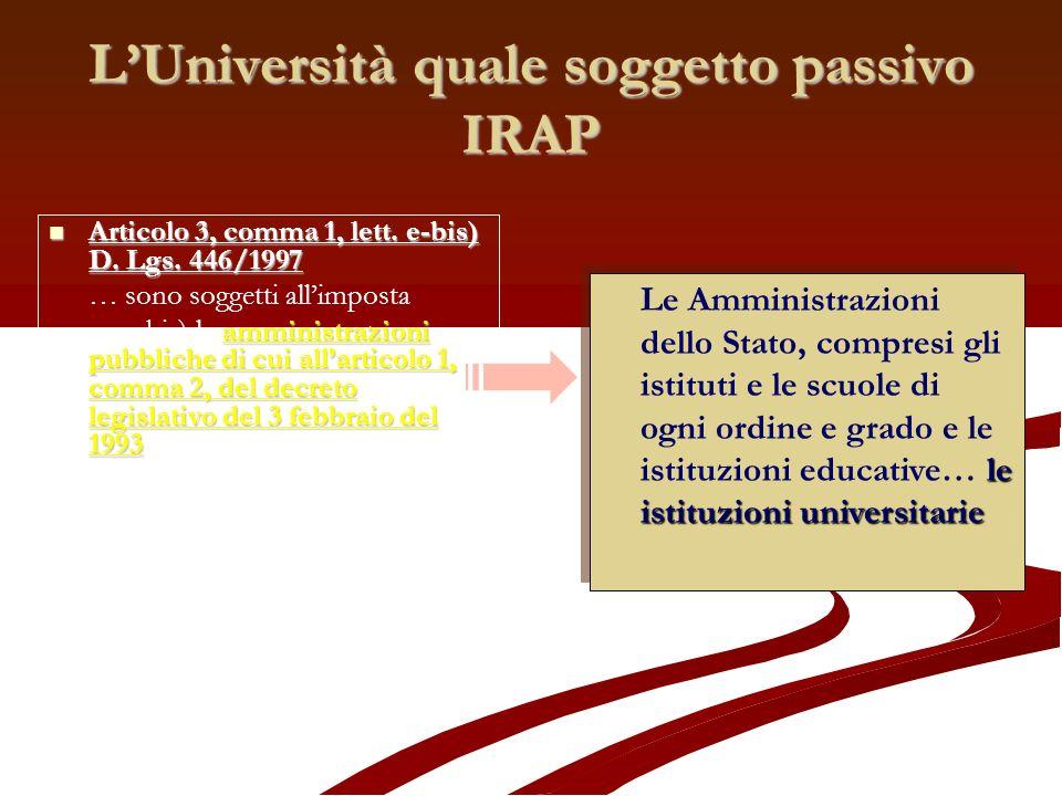 L'Università quale soggetto passivo IRAP