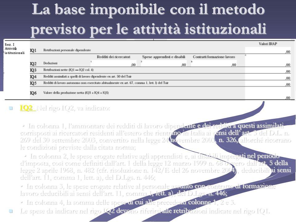 La base imponibile con il metodo previsto per le attività istituzionali