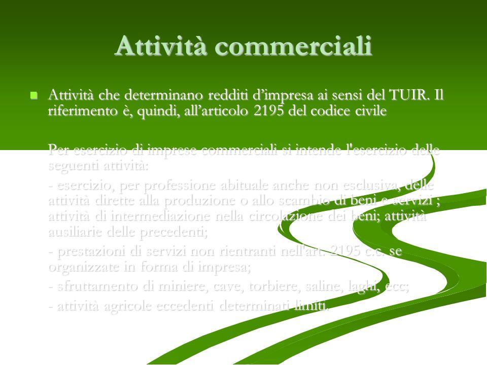 Attività commerciali Attività che determinano redditi d'impresa ai sensi del TUIR. Il riferimento è, quindi, all'articolo 2195 del codice civile.