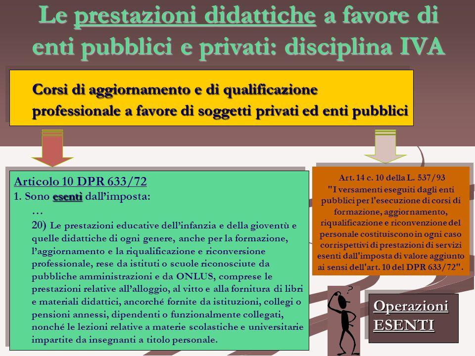 Le prestazioni didattiche a favore di enti pubblici e privati: disciplina IVA