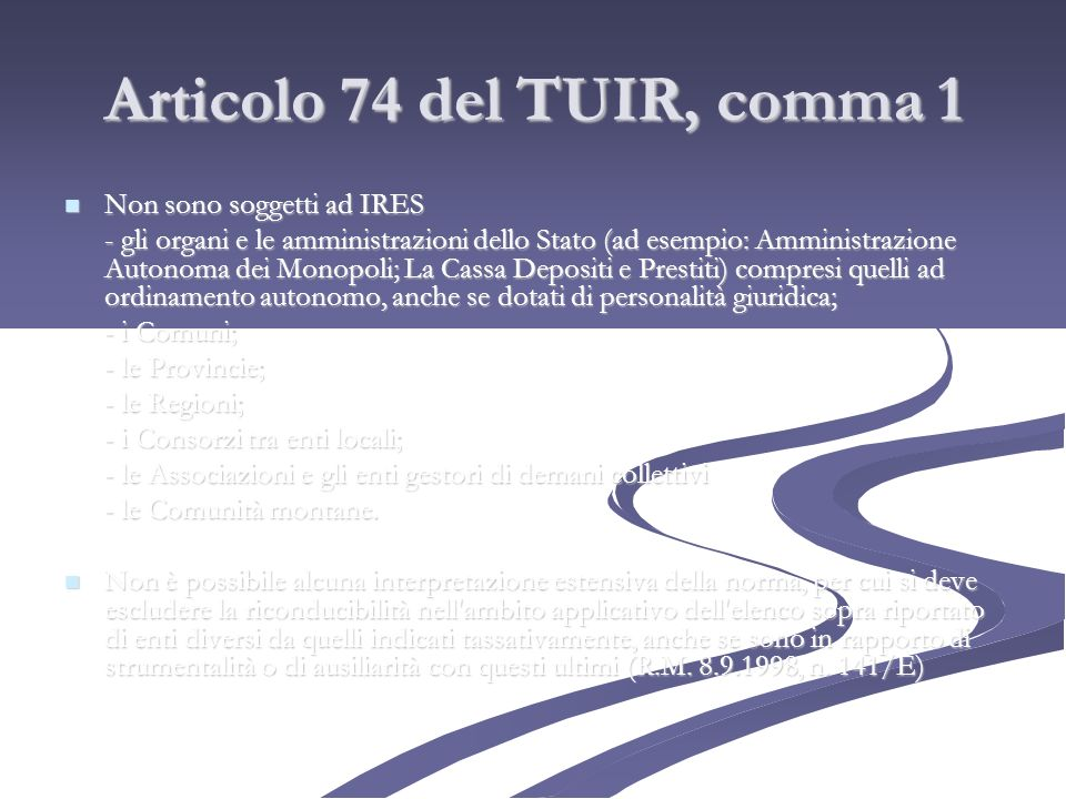 Articolo 74 del TUIR, comma 1