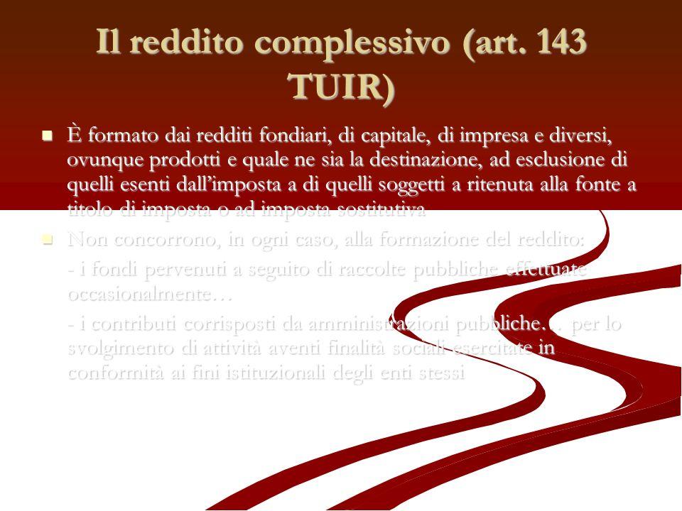 Il reddito complessivo (art. 143 TUIR)