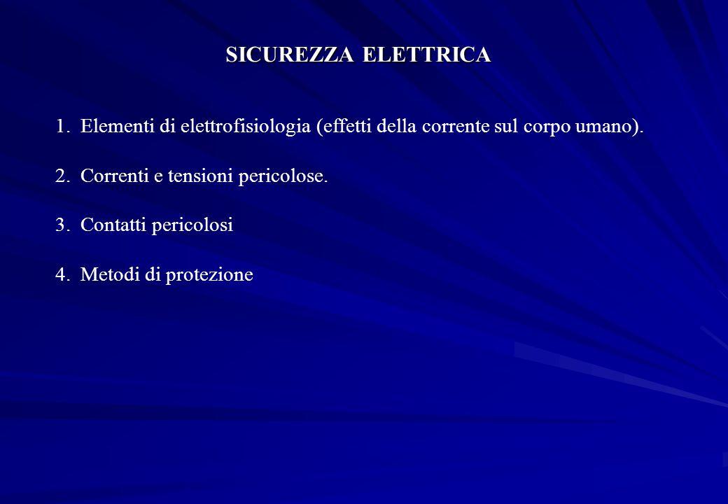 SICUREZZA ELETTRICA Elementi di elettrofisiologia (effetti della corrente sul corpo umano). Correnti e tensioni pericolose.