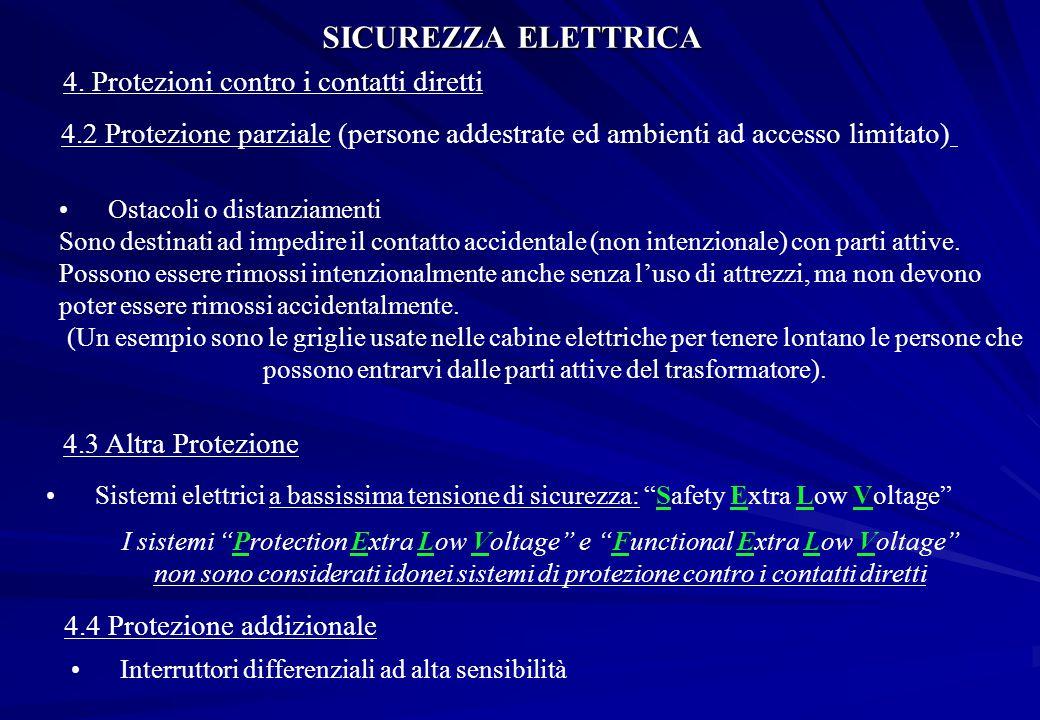 SICUREZZA ELETTRICA 4. Protezioni contro i contatti diretti
