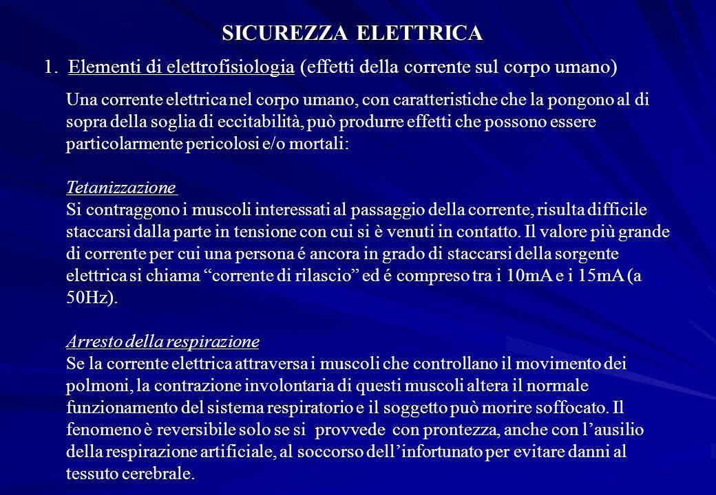 SICUREZZA ELETTRICA Elementi di elettrofisiologia (effetti della corrente sul corpo umano)