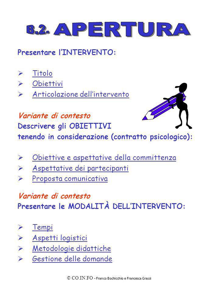 APERTURA B.2. Presentare l'INTERVENTO: Titolo Obiettivi