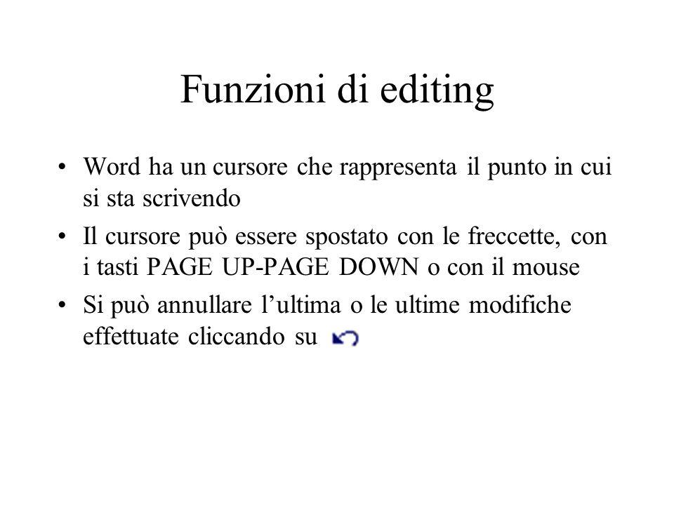 Funzioni di editing Word ha un cursore che rappresenta il punto in cui si sta scrivendo.