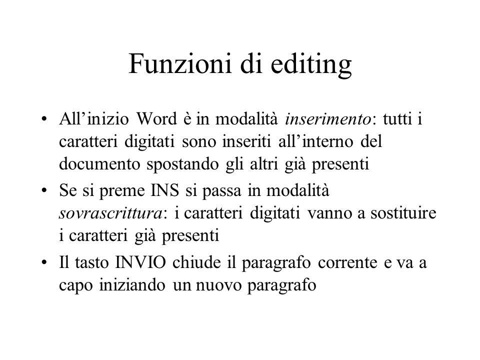 Funzioni di editing