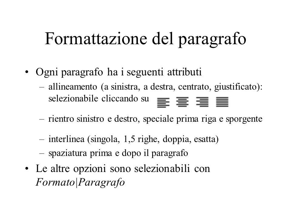 Formattazione del paragrafo