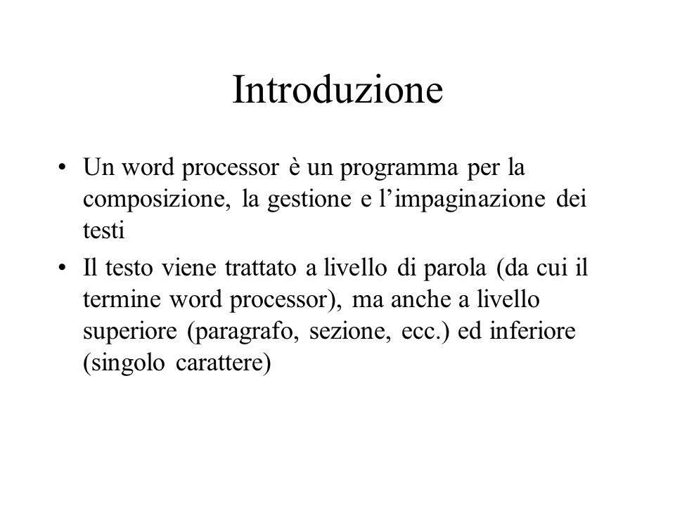 Introduzione Un word processor è un programma per la composizione, la gestione e l'impaginazione dei testi.