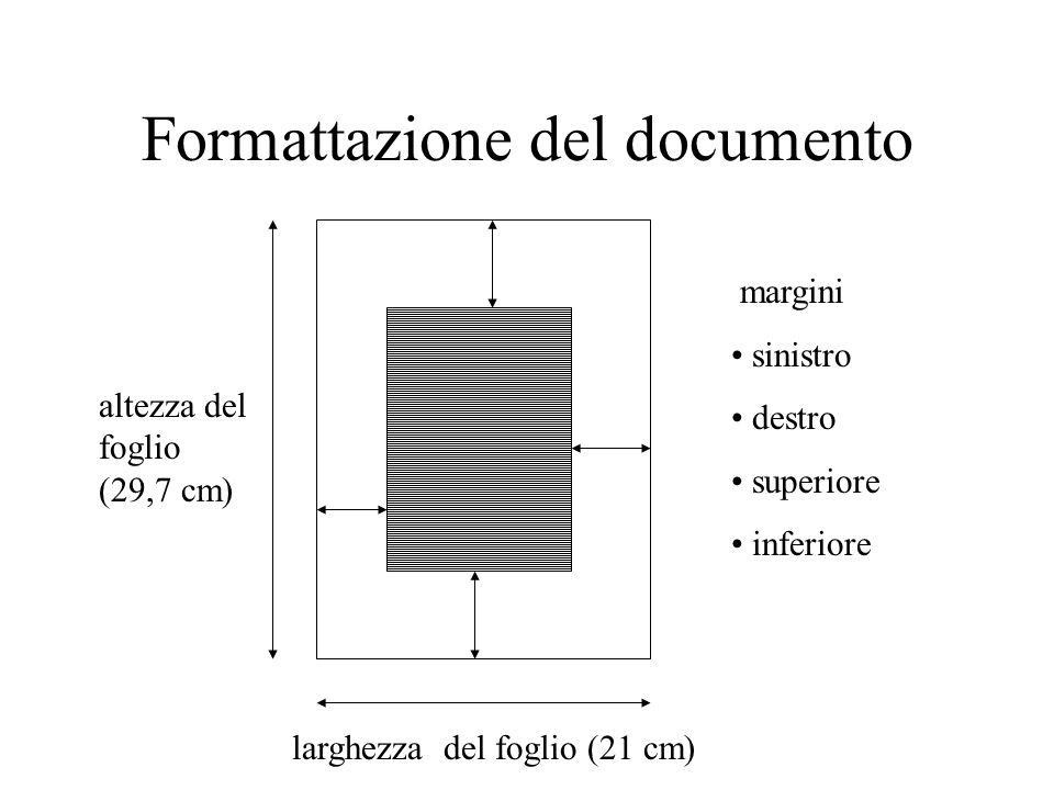 Formattazione del documento