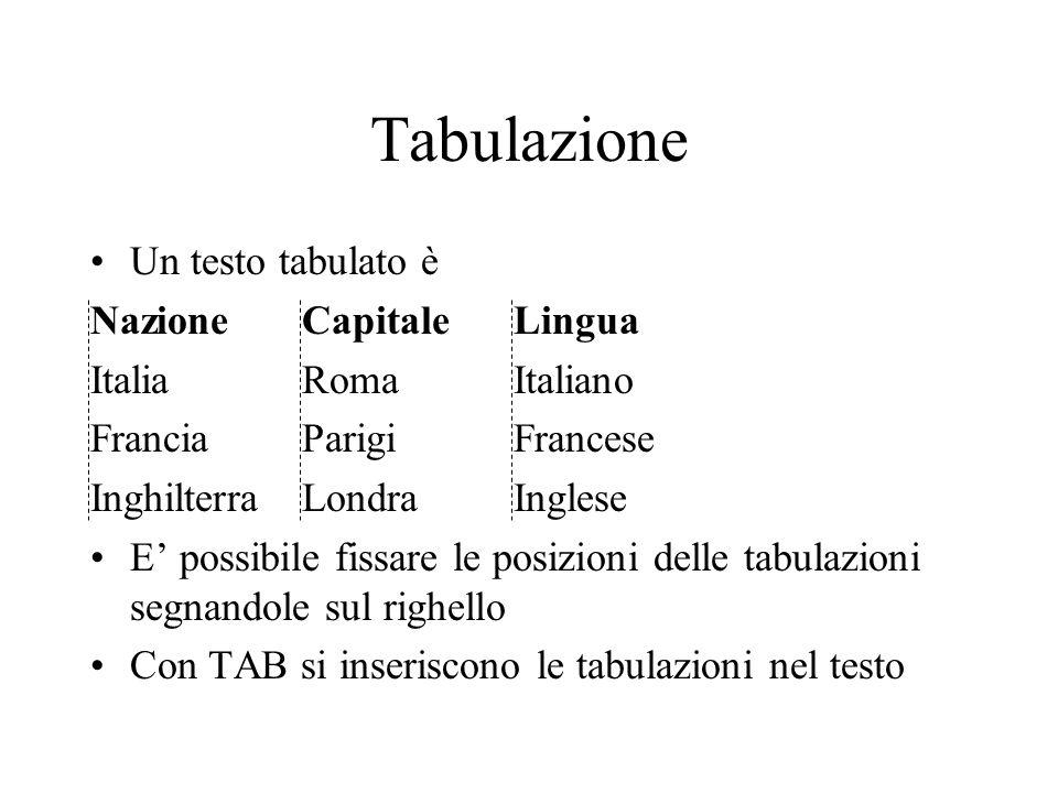 Tabulazione Un testo tabulato è Nazione Capitale Lingua