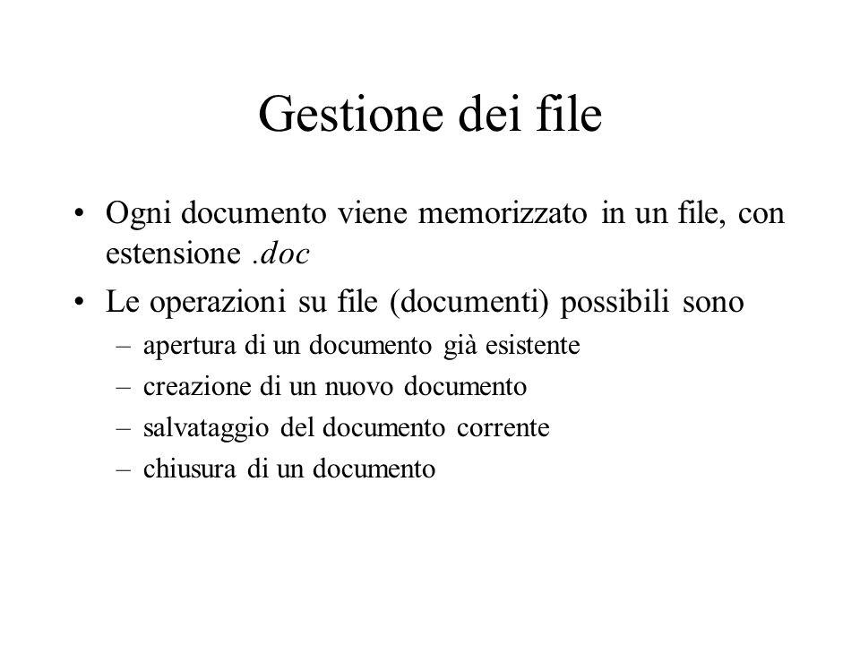 Gestione dei file Ogni documento viene memorizzato in un file, con estensione .doc. Le operazioni su file (documenti) possibili sono.