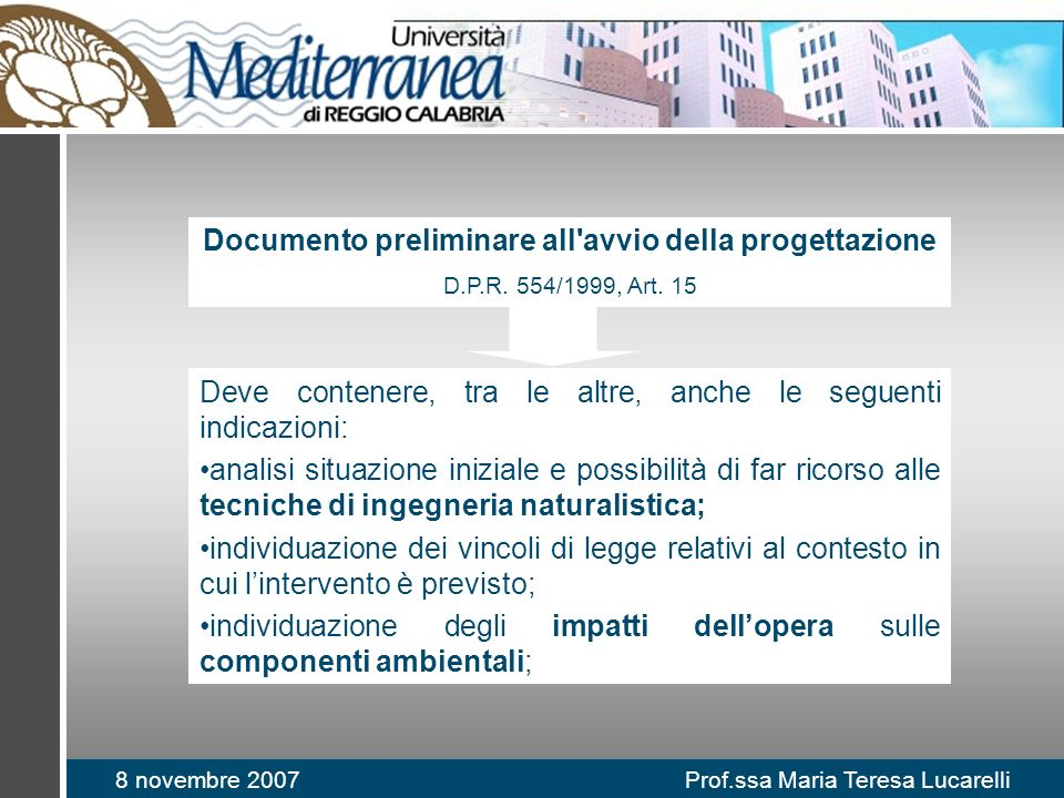 Documento preliminare all avvio della progettazione