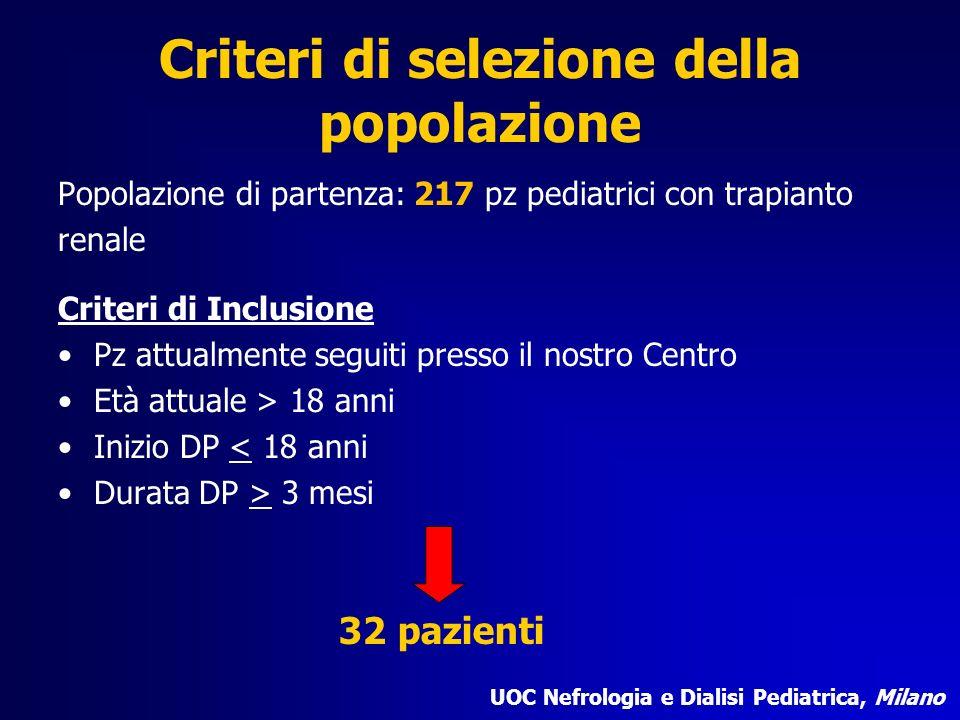 Criteri di selezione della popolazione