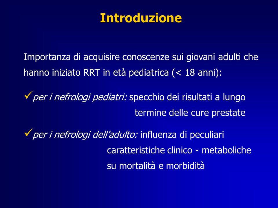 Introduzione Importanza di acquisire conoscenze sui giovani adulti che hanno iniziato RRT in età pediatrica (< 18 anni):