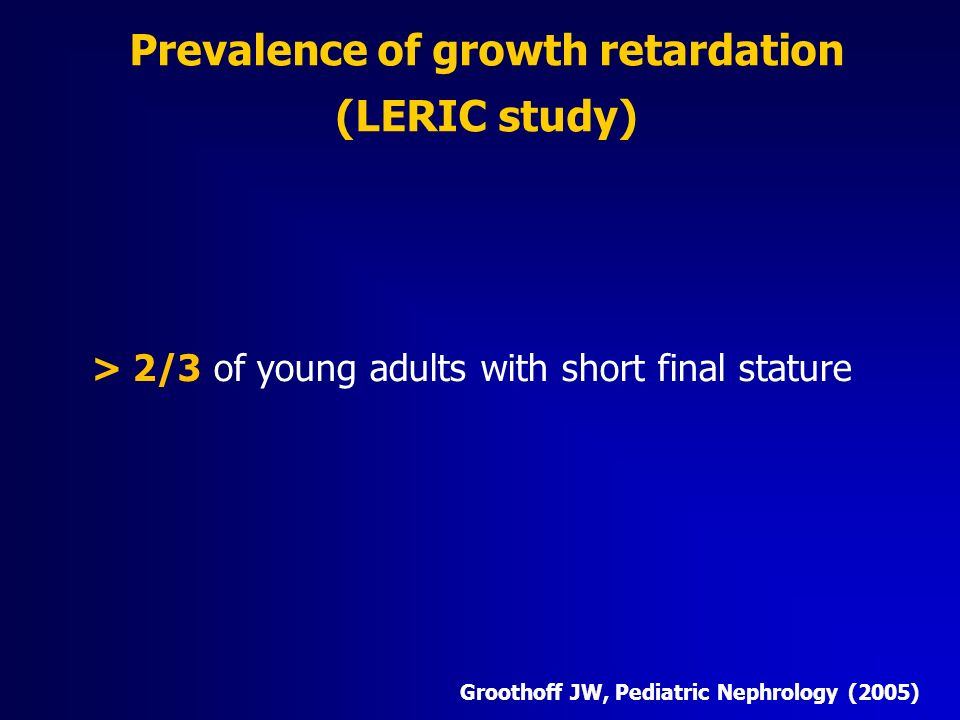 Prevalence of growth retardation (LERIC study)