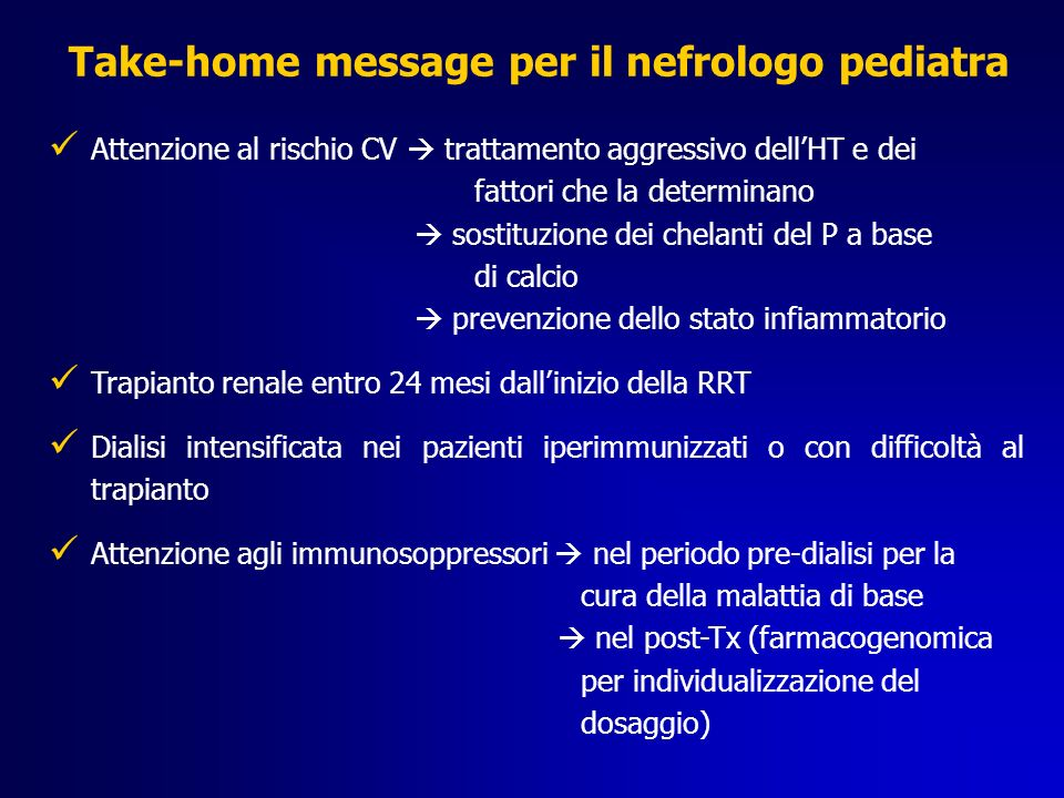 Take-home message per il nefrologo pediatra