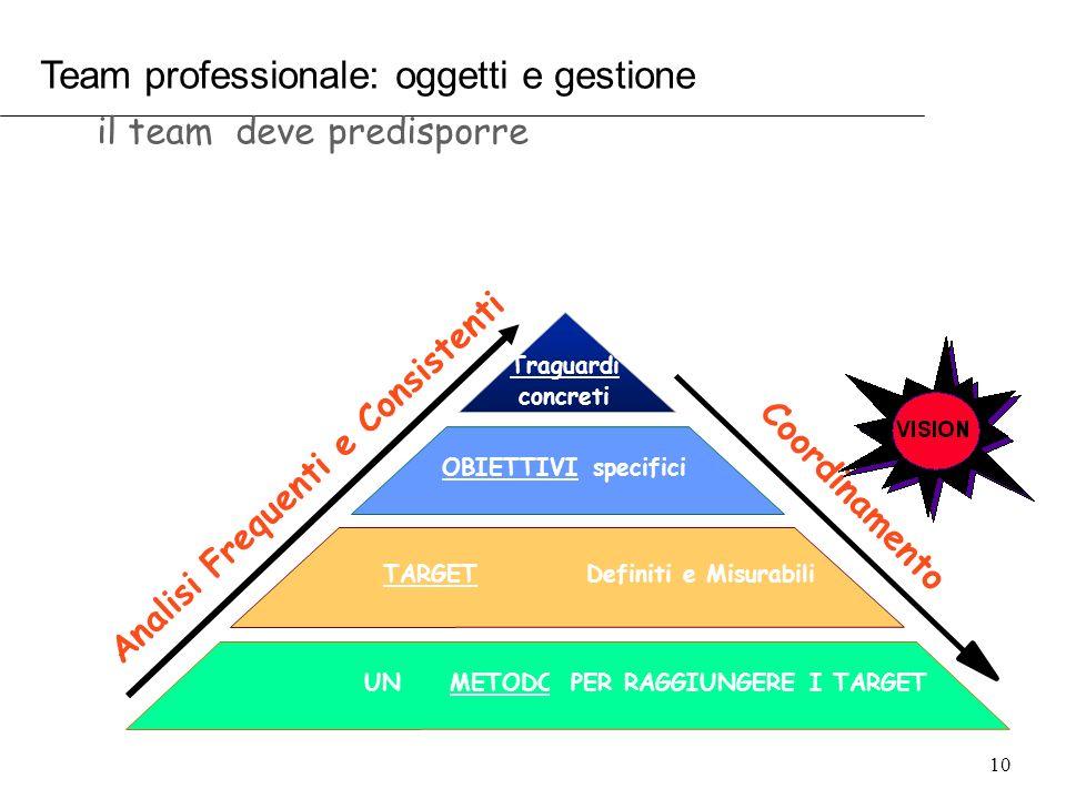 Team professionale: oggetti e gestione