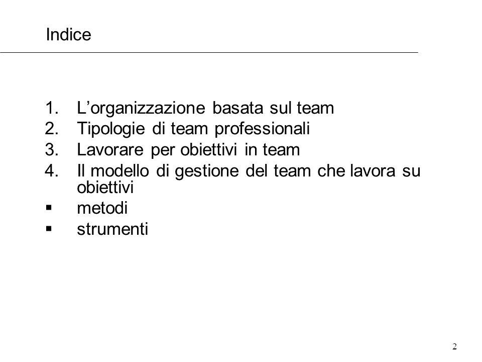 L'organizzazione basata sul team Tipologie di team professionali