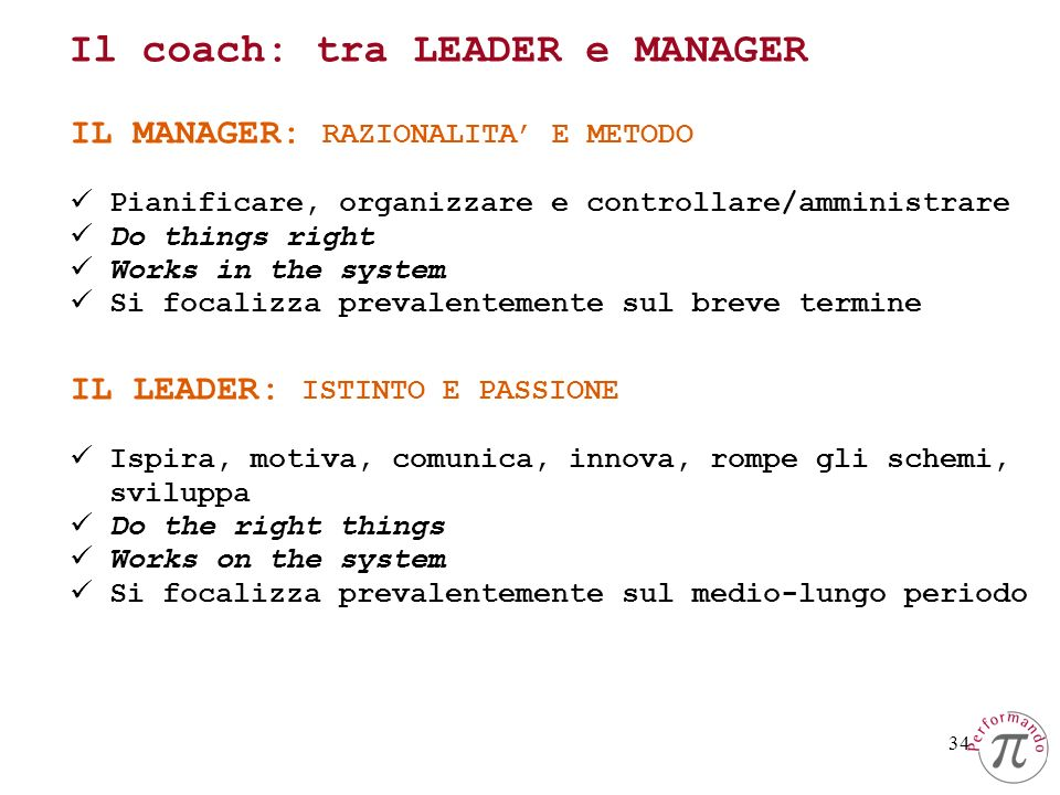 Il coach: tra LEADER e MANAGER