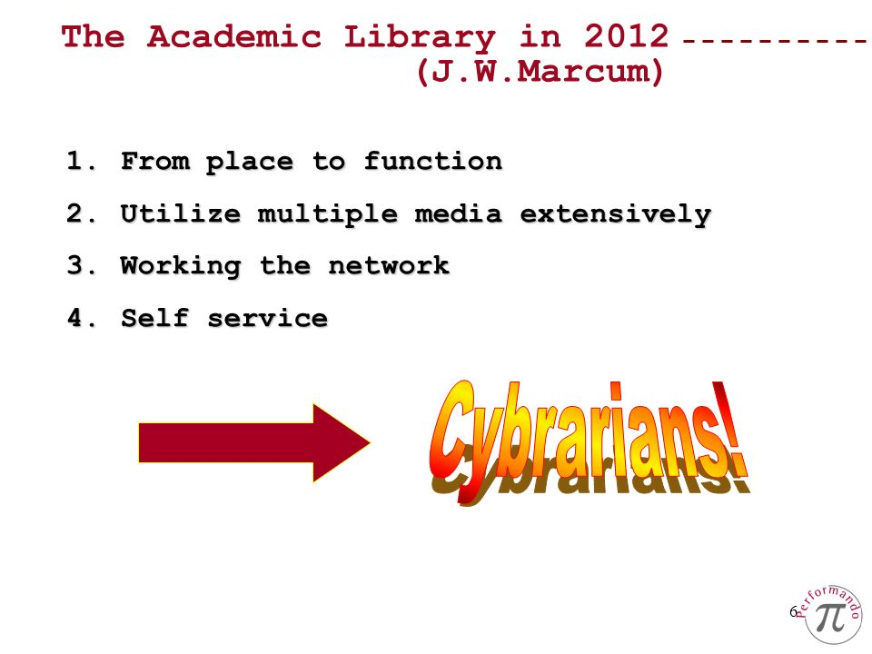 Cybrarians! The Academic Library in 2012 (J.W.Marcum)