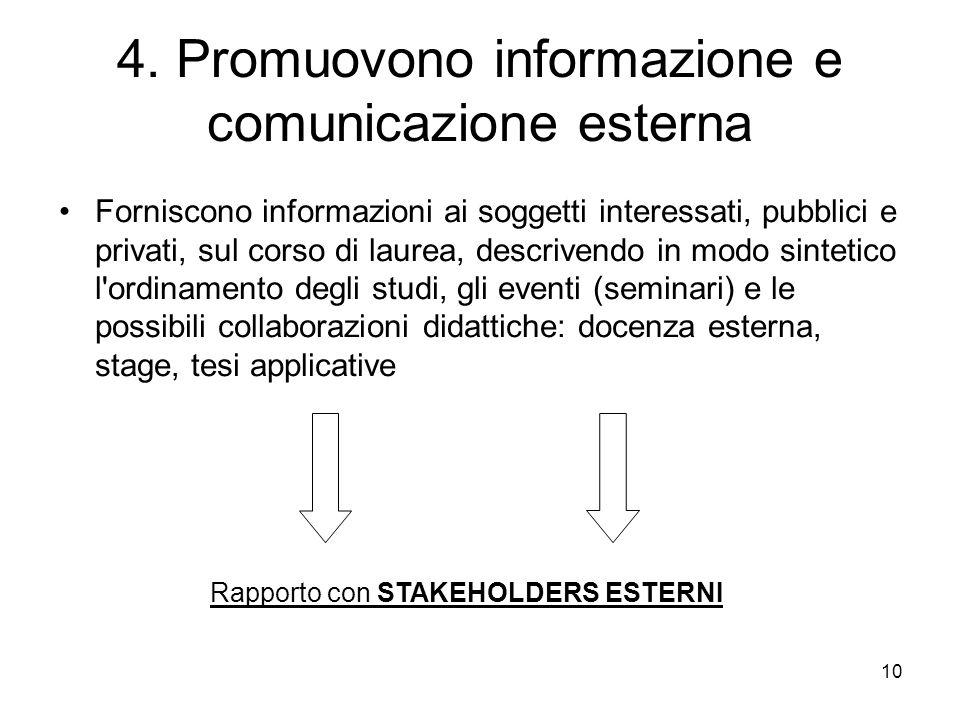 4. Promuovono informazione e comunicazione esterna