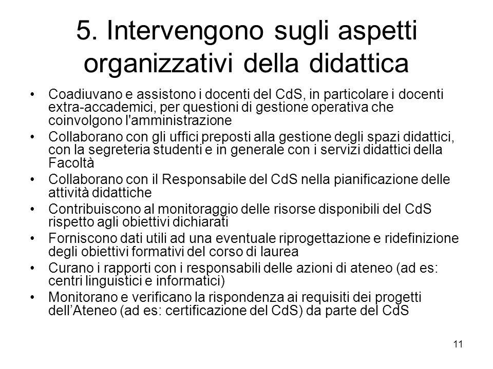 5. Intervengono sugli aspetti organizzativi della didattica