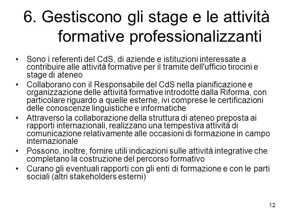 6. Gestiscono gli stage e le attività formative professionalizzanti