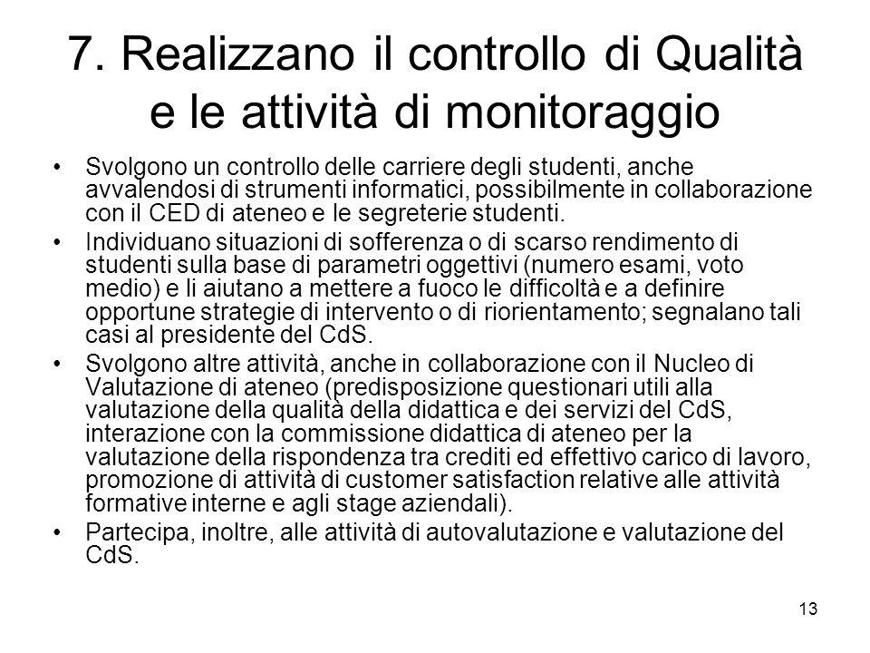 7. Realizzano il controllo di Qualità e le attività di monitoraggio