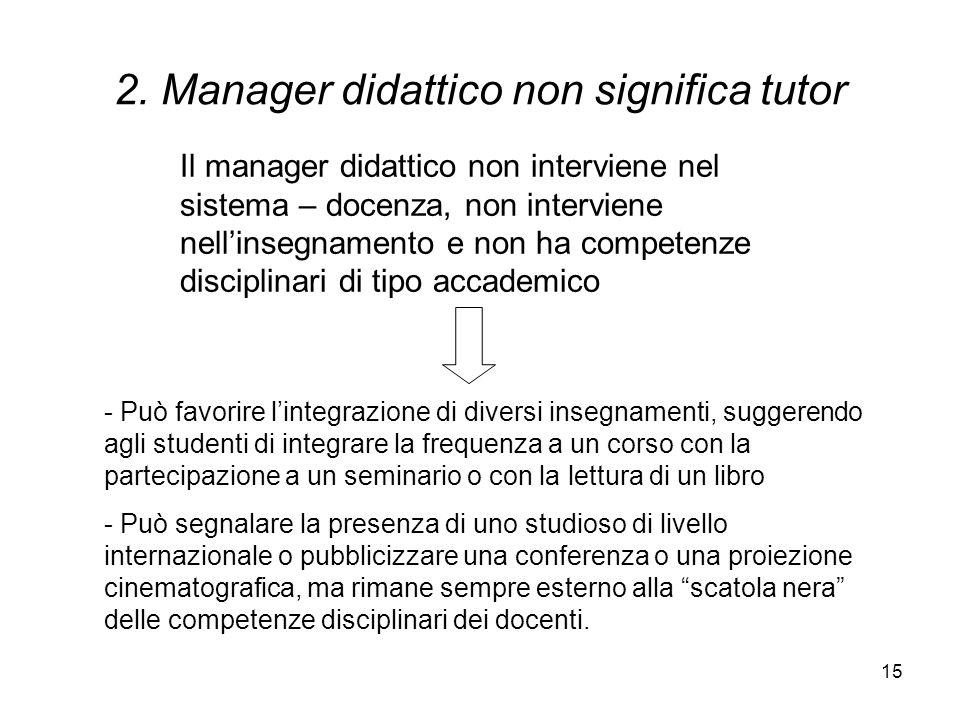 2. Manager didattico non significa tutor