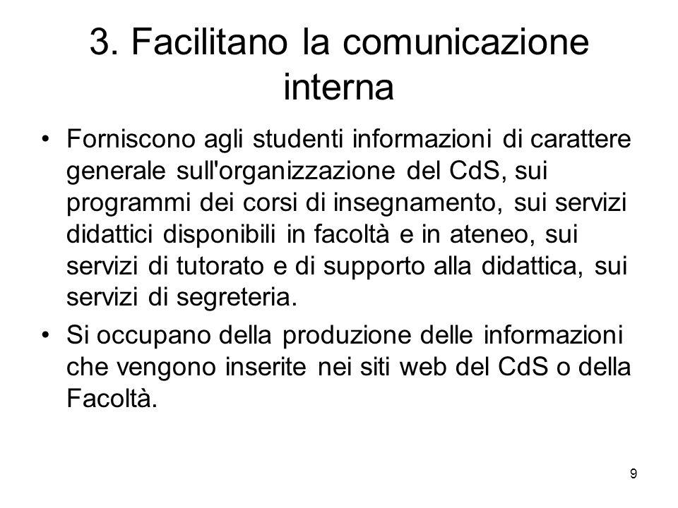 3. Facilitano la comunicazione interna