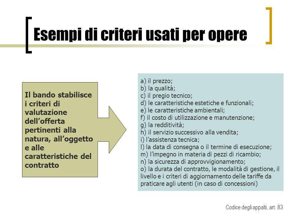 Esempi di criteri usati per opere