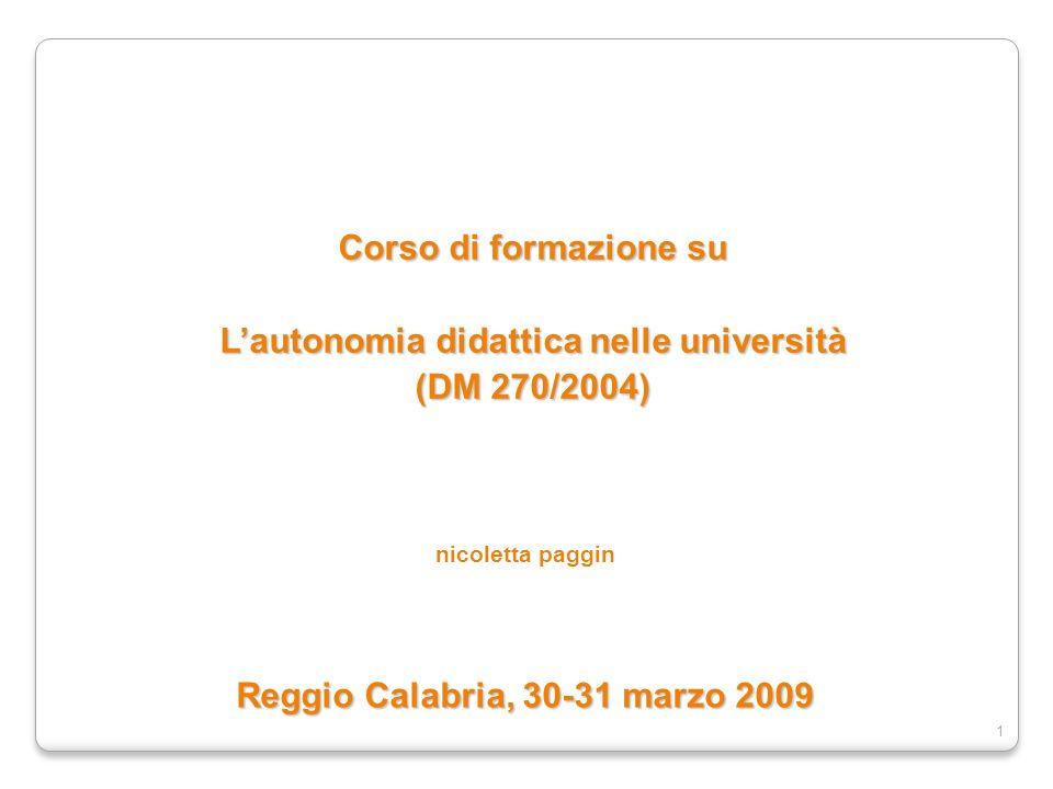 L'autonomia didattica nelle università (DM 270/2004)