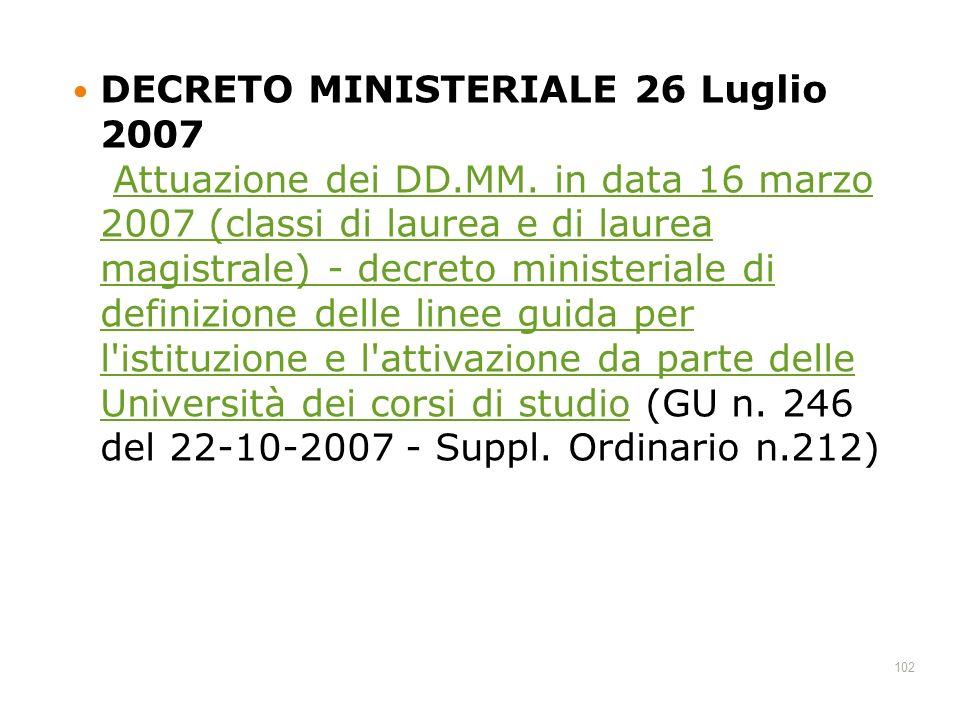 DECRETO MINISTERIALE 26 Luglio 2007 Attuazione dei DD. MM
