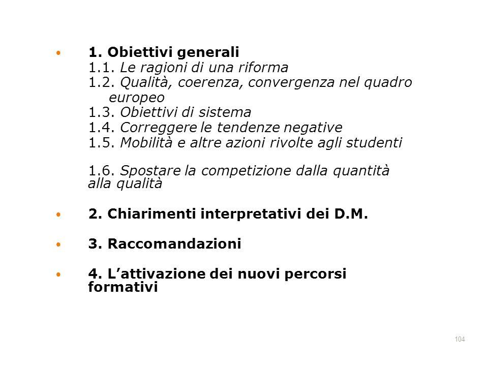 1. Obiettivi generali 1.1. Le ragioni di una riforma. 1.2. Qualità, coerenza, convergenza nel quadro.