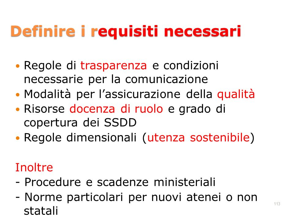 Definire i requisiti necessari