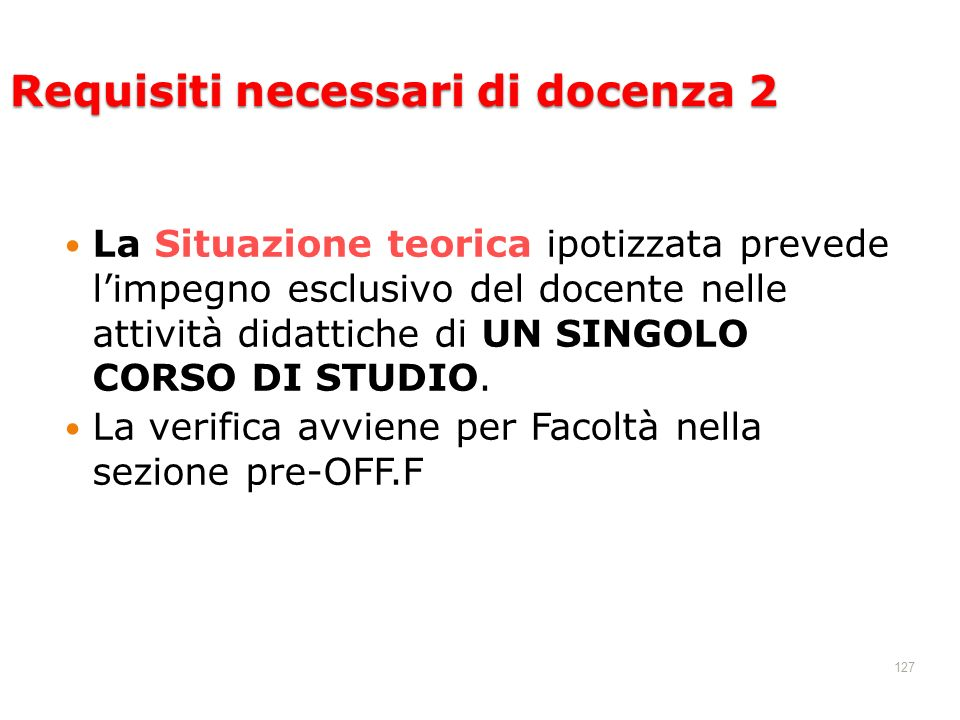 Requisiti necessari di docenza 2