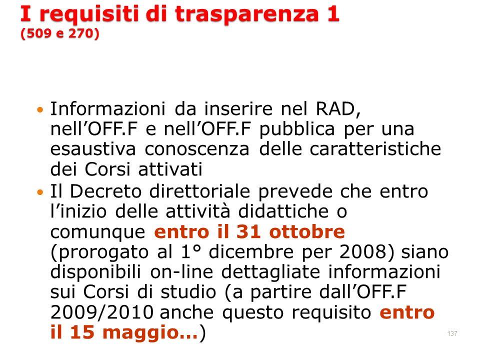 I requisiti di trasparenza 1 (509 e 270)