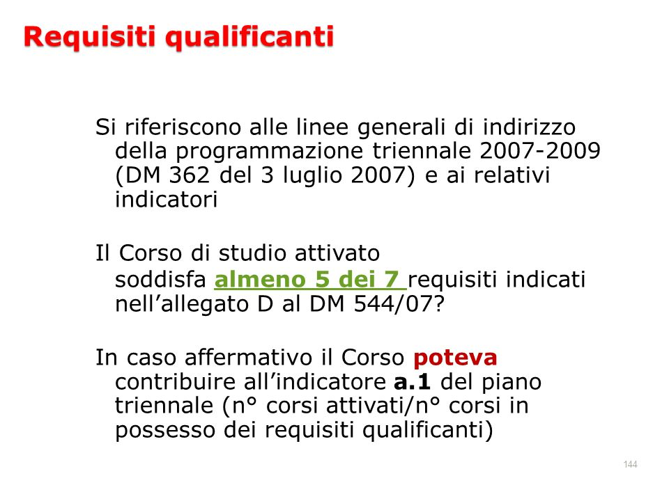 Requisiti qualificanti